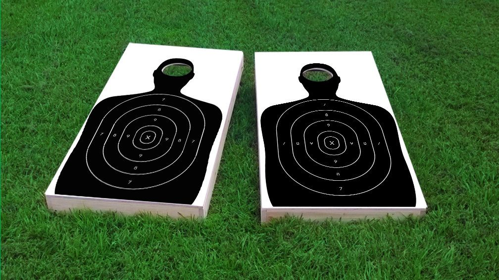 Gun / Shooting Range Target Themed 2x4 Custom Cornhole Board