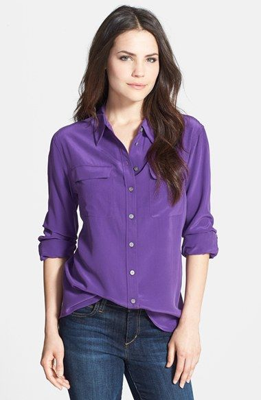 4080beac955bcb Two by Vince Camuto Silk Utility Blouse available at  Nordstrom comes in  more than 10 colors dry clean only