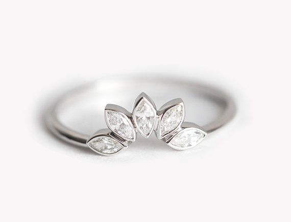 matching diamond wedding ring matching diamond wedding band white gold diamond band marquise diamond crown ring - Crown Wedding Ring