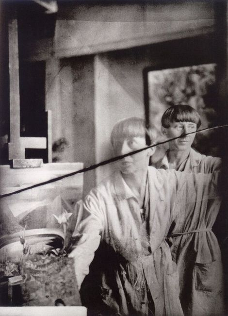 Hannah Hoch, Hannah Höch, Self-Portrait in her studio, ca 1930 on ArtStack #hannah-hoch #art