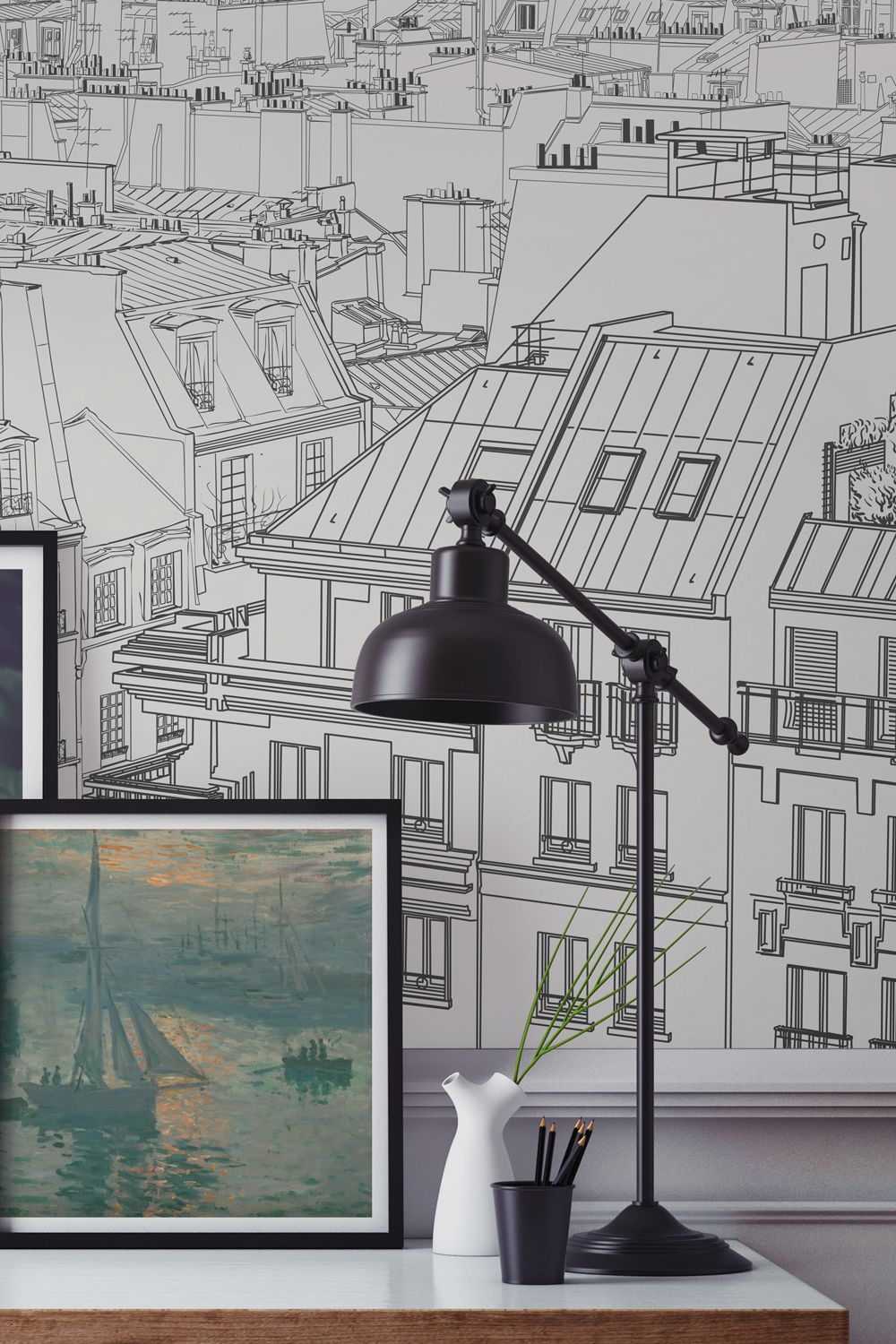 eb2bda7162 Want to create a sophisticated study space  Fall in love with the rooftops  of Paris with this completely unique city wallpaper mural.