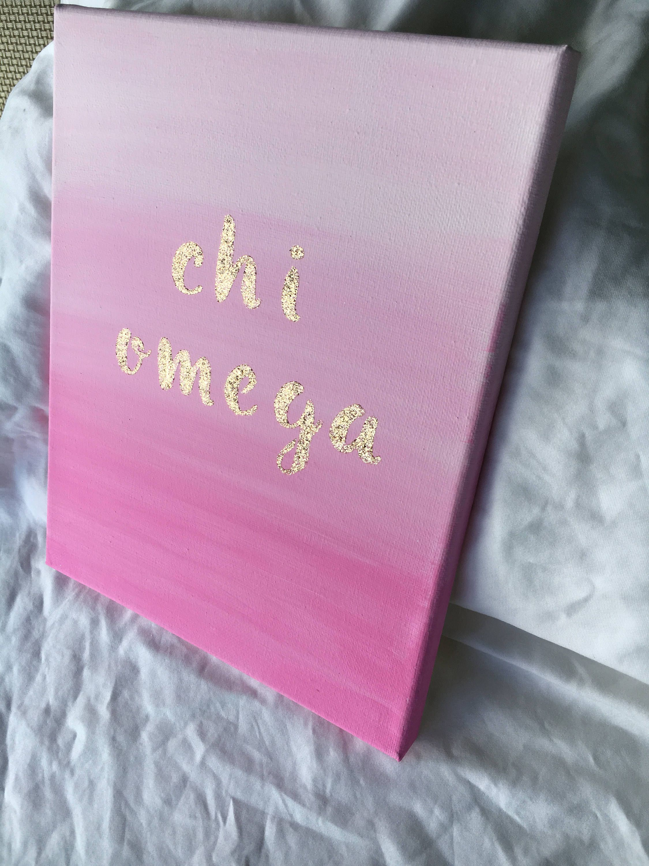 Customizable Glitter Letter Sorority Canvas // Chi Omega // Ombre Pink // Big Little Gift // Spring // Gifts for Her // Gold Sparkle #biglittlecanvas