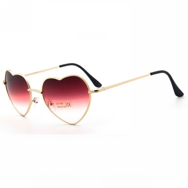 af4d5aa0e6f1 Fun Heart Shaped Gradient Sunglasses Gold Metal Frame Red Clear Lens ...