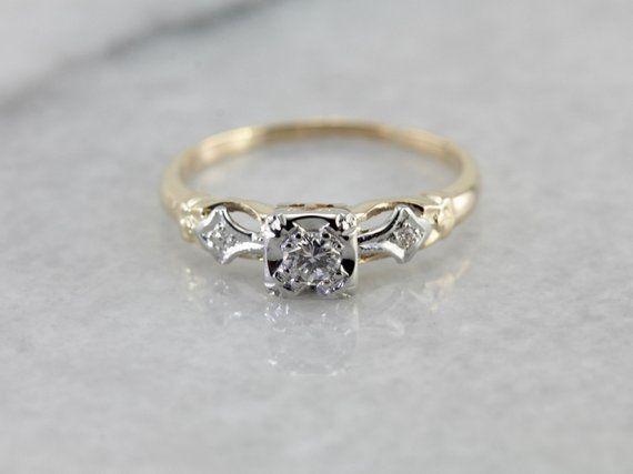 0fae9352207 Vintage Diamond Retro Era Engagement Ring 9FCA9L-P in 2019 ...