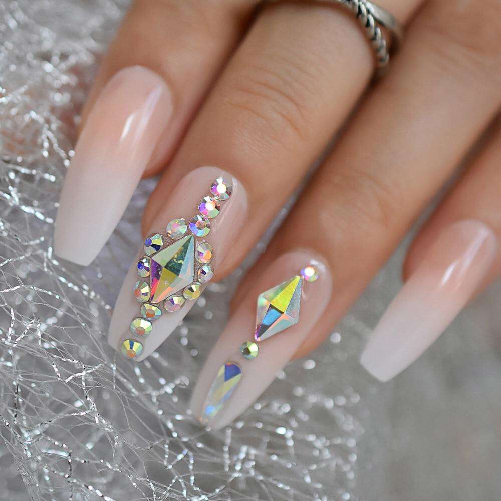 Luxury Custom Large Stones Decorated Nail Art Tips Ombre Coffin Shape Press On Nails Art Coffin Custom Decorated Large Luxury Nail Nails Ombre Press Em 2020