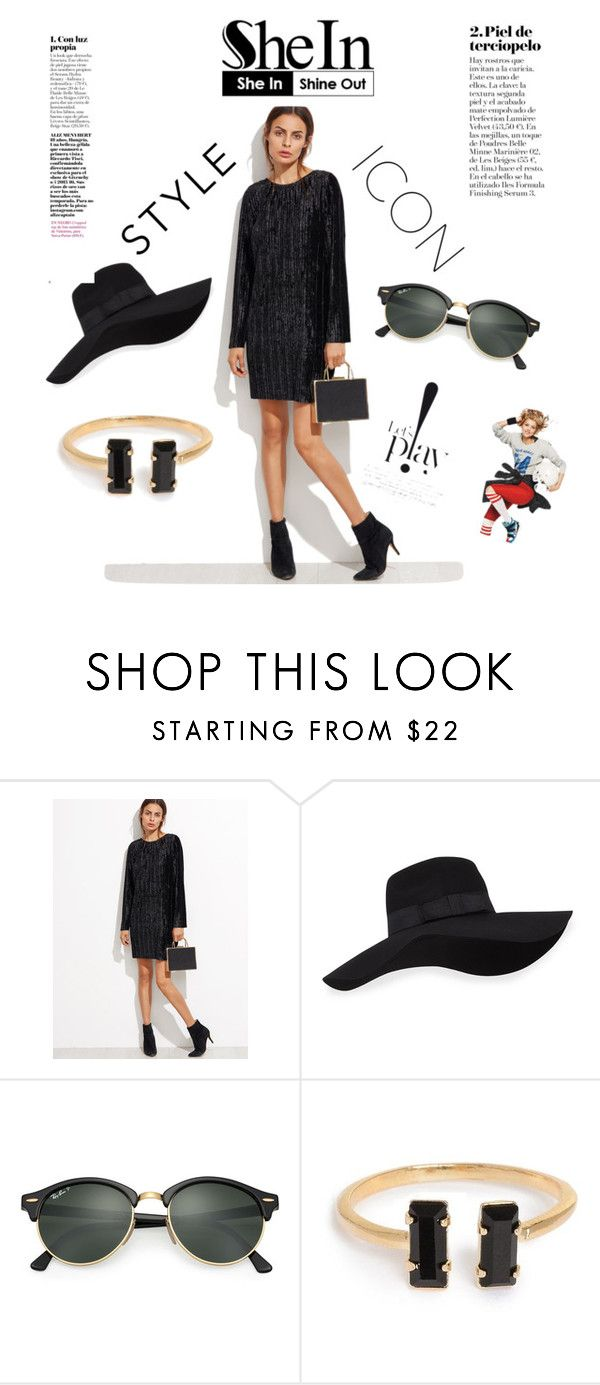 """Black ripped velvet"" by queensilvi ❤ liked on Polyvore featuring San Diego Hat Co. and Ray-Ban"