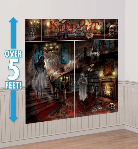 Haunted House Scene Setter 65in x 75in - Party City HALLOWEEN - halloween decorations haunted house