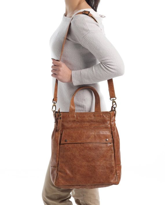 Convertible leather bag  Distressed leather tote  Laptop by Laroll