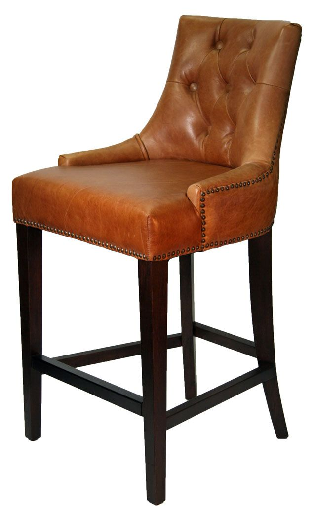 High Chair That Attaches To Counter Rubber Feet For Chairs Antique Brown Top Grain Leather Stool R 1081 Stools Restaurant Bistro
