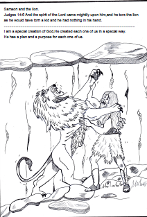 samson bible sunday school lesson samson and the lion coloring page - Samson Delilah Coloring Pages