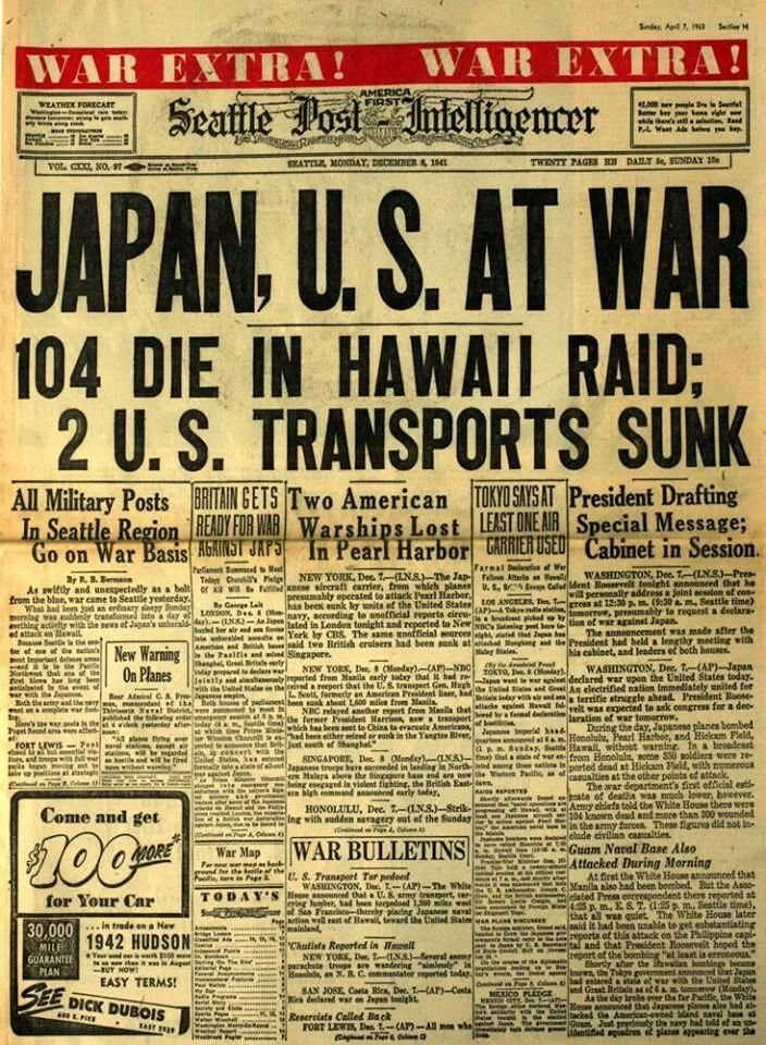 The attack on Pearl Harbor was a surprise military strike by the - old newspaper template