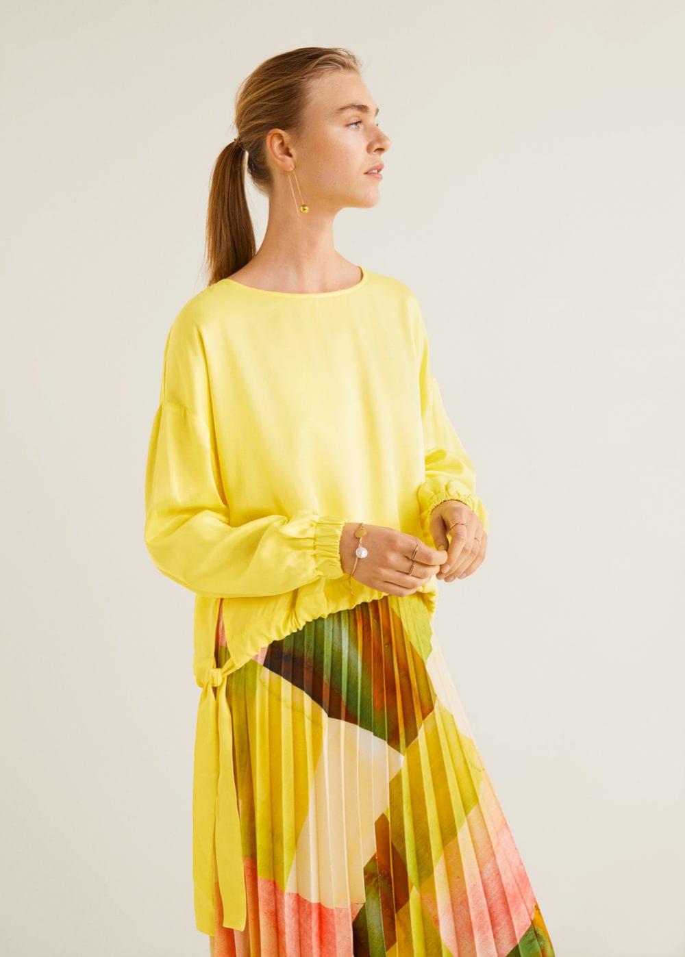 Bluse mit seitenstreifen - Damen | Mango Deutschland ...
