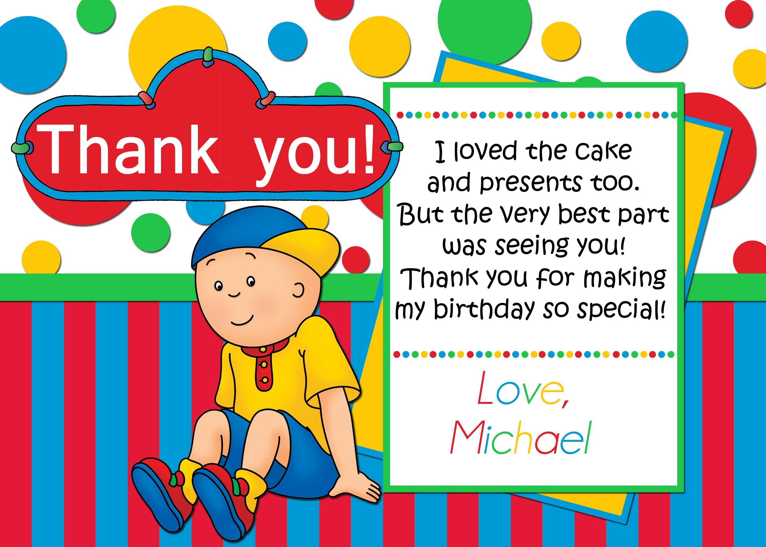 Caillou Birthday Thank you card $3.99 | Caillou Birthday Invitations ...