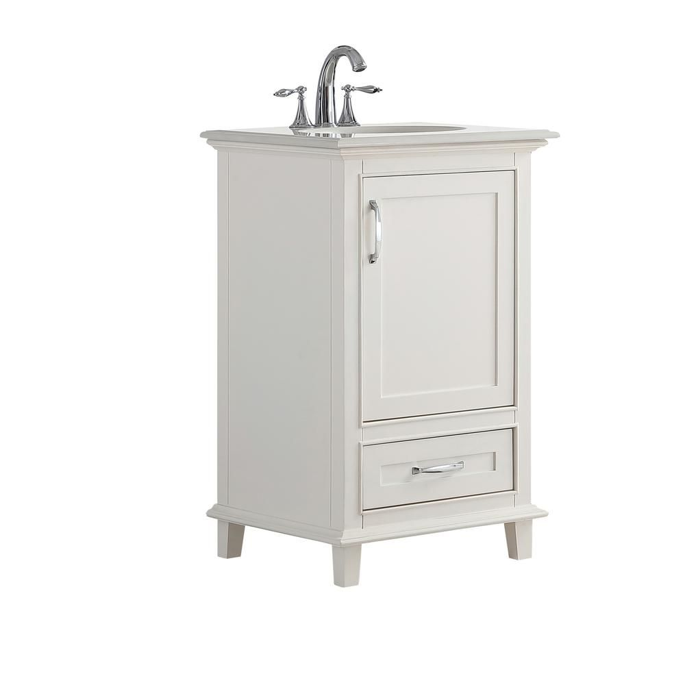 Simpli Home Ariana 20 In W X 19 In D Bath Vanity In Soft White