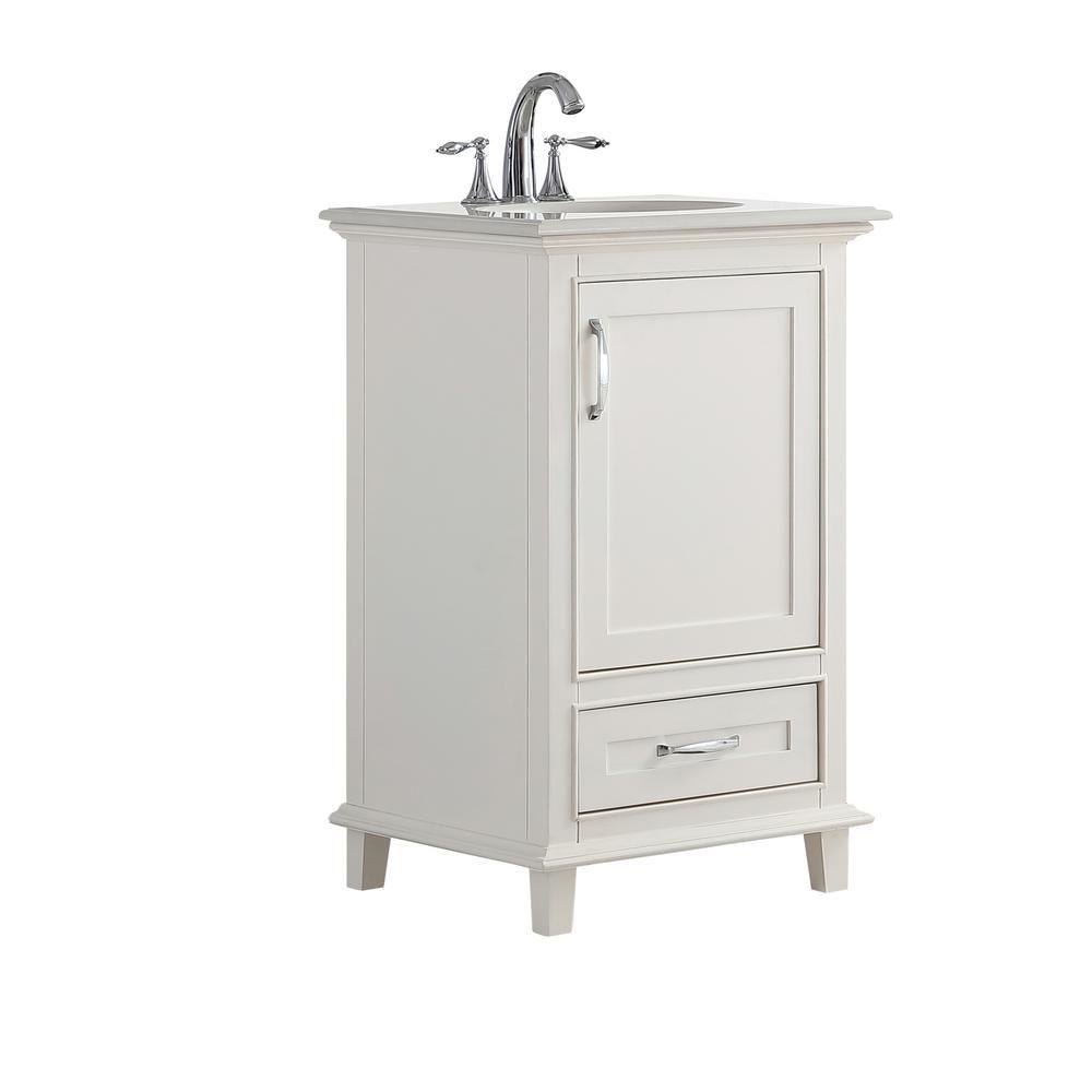 Simpli Home Ariana 20 In W X 19 In D Bath Vanity In Soft White