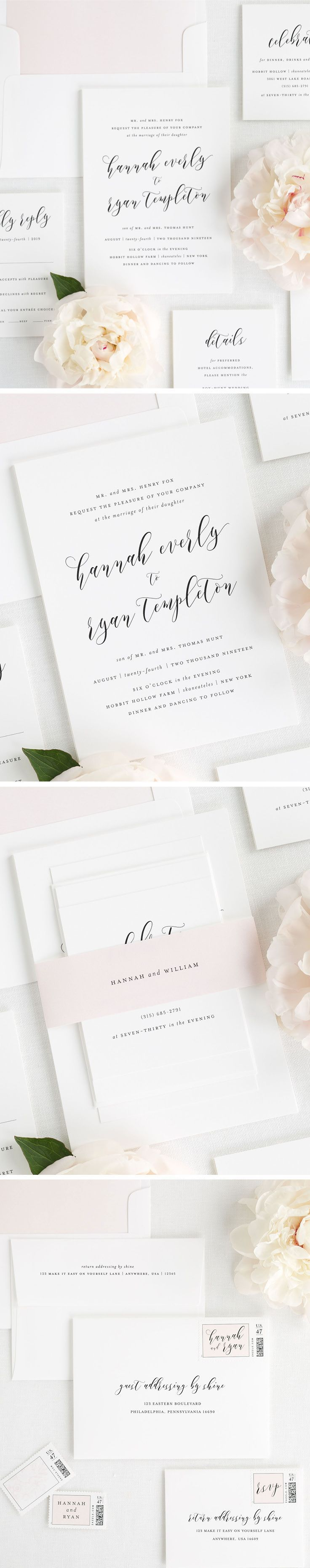 Everly Wedding Invitations | Wedding, Romantic wedding invitations ...