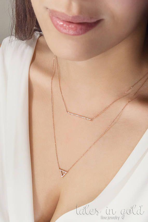 Diamond Triangle Necklace Gold Triangle Necklace 9k 14k 18k Etsy In 2020 Gold Triangle Necklace Gold Bar Necklace Womens Jewelry Necklace