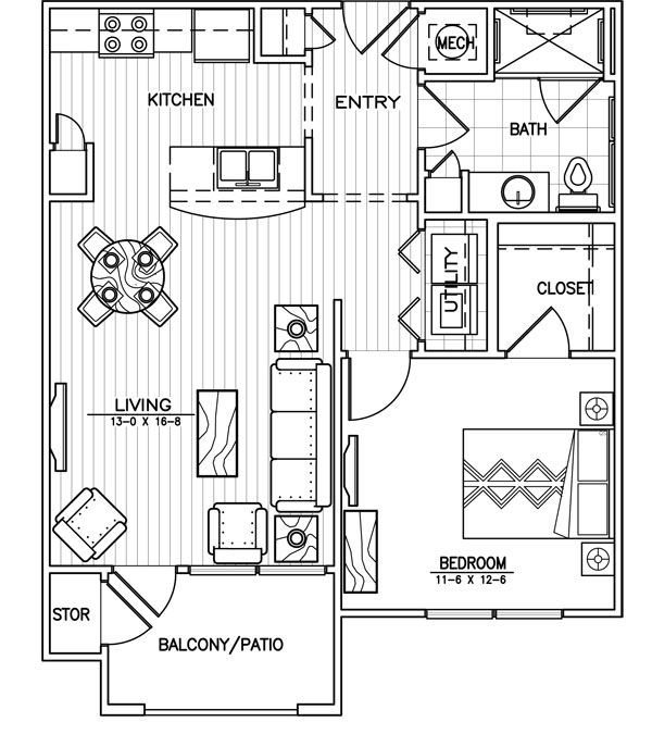 Apartment Layout 1 Bedroom One Apartments Barn Plans