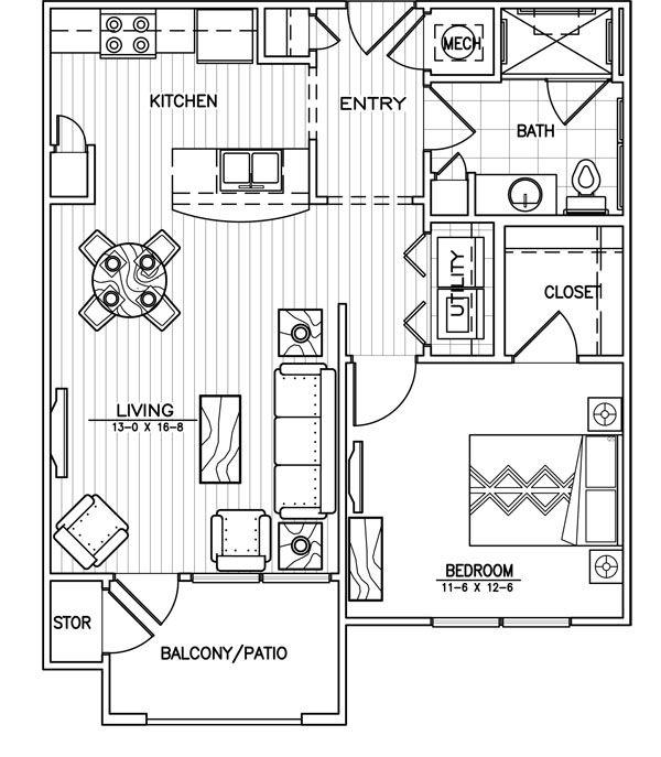 1 Bedroom Apartment Floor Plans 500 Sf | 350 X 294 21 Kb Jpeg One Bedroom