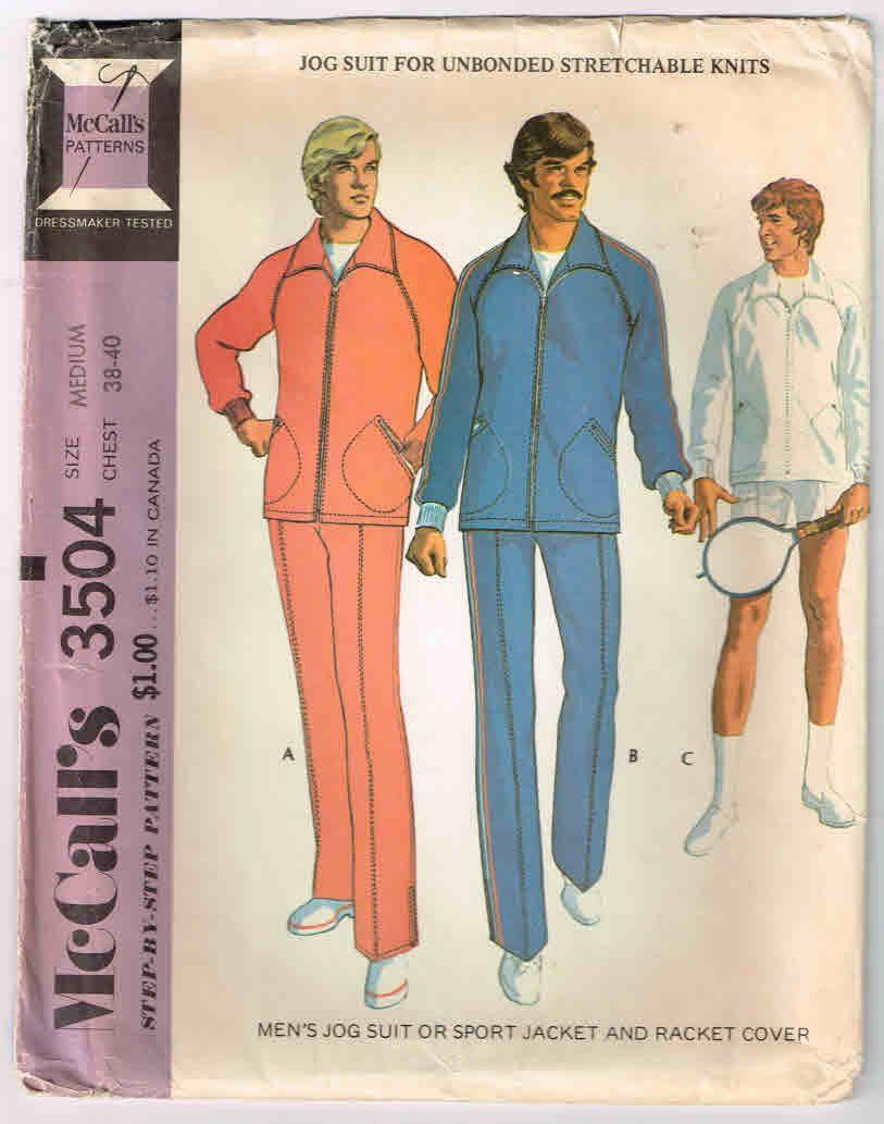 Uncut, Vintage McCall\'s #3504, Men\'s Size Medium Jogging Suit ...