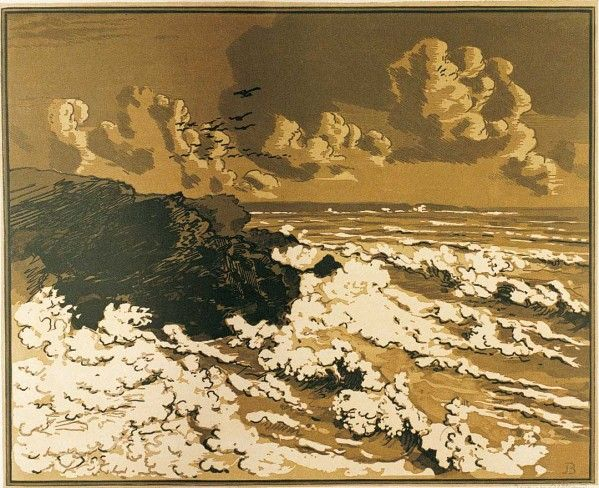 Envol Pour Le Japon A Quimper Woodcut Painting Art