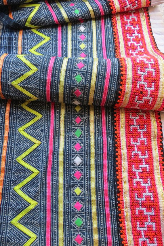 For my bedroom - Handwoven Hmong  hemp and cotton Vintage fabric Indigo by dellshop, $49.99