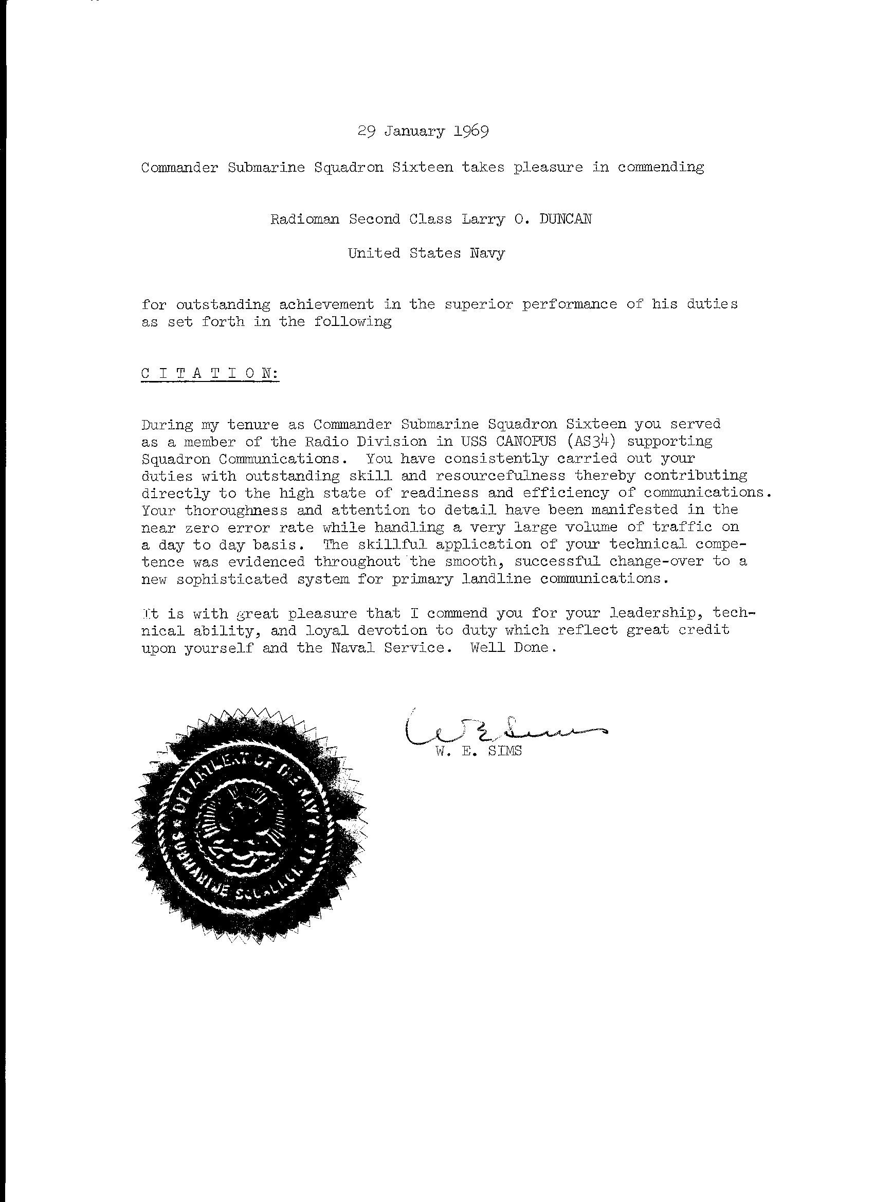Commendation Letter From Commander Of Submarine Squadron Sixteen