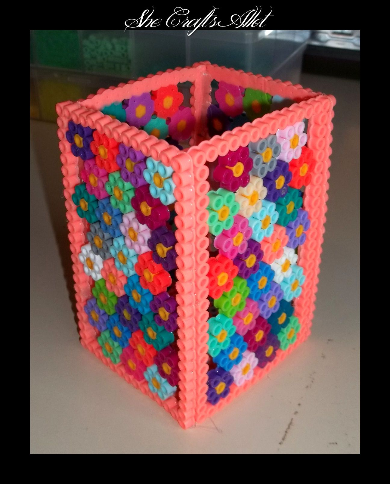 hight resolution of perler bead pattern pencil holder she crafts allot