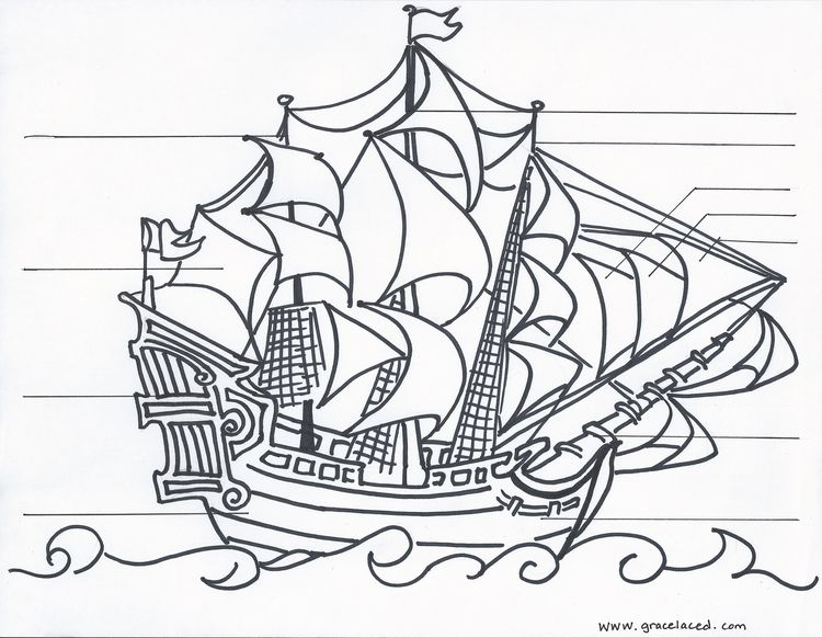 The Anatomy Of A Pirate Ship Coloring Sheet {Free