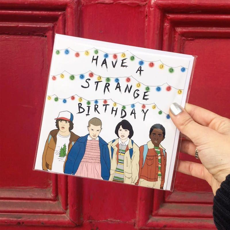 Have A Strange Birthday Stranger Things Birthday card sold at Urban Outfitters Brandon's