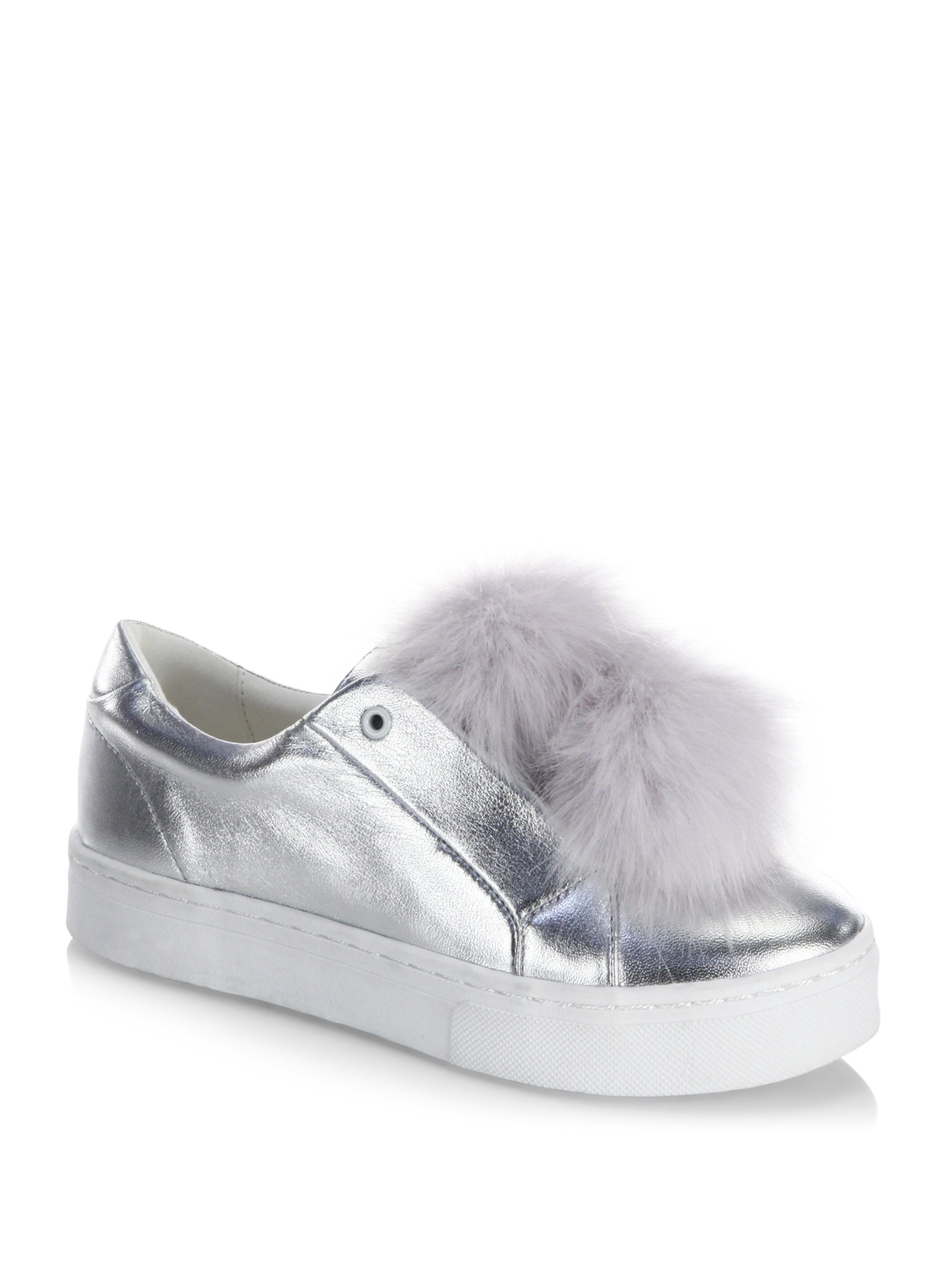 950ce8b540613c Sam Edelman Leya Metallic Faux Fur Pompom Accented Sneakers - Soft Silver  5.5