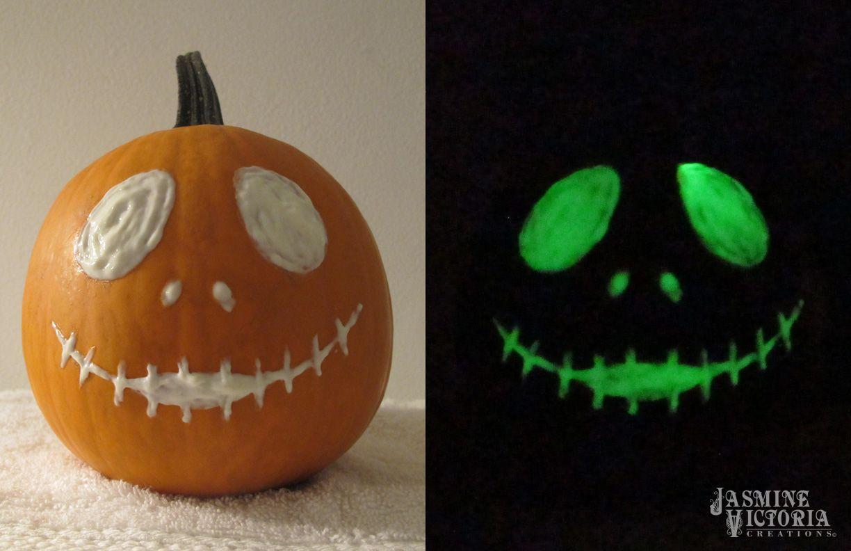 Glow in the dark paint jack skellington pumpkin carving fun