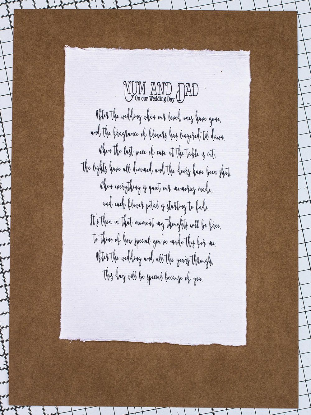 Wedding Poem For Mum And Dad Mom Pas Gift Day Card Memento Thank You By Sbsprintables