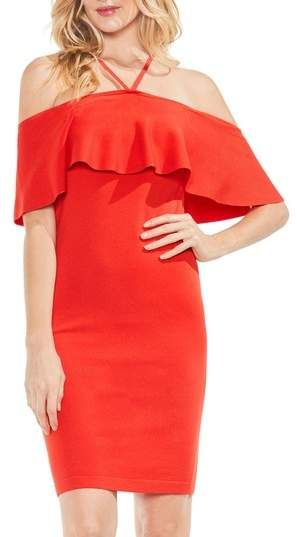 f64357f50e0 Vince Camuto Ruffle Off the Shoulder Halter Sweater Dress