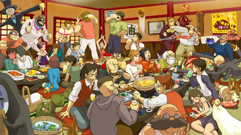 For anyone that has both a) experienced a japanese nomikai and b) fallen in love with Hayao Miyazaki's world of wonder this picture is pretty much the best thing ever made.  EVER.