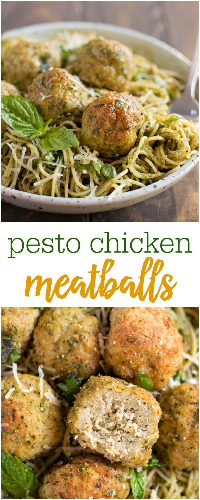 Pesto Chicken Meatballs Recipe (With images) Chicken