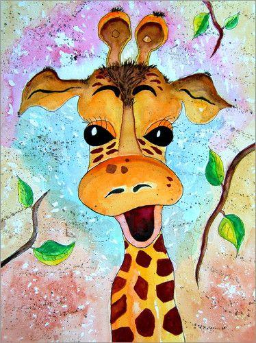 poster giraffe gisela giraffe giraffen painting gemalt. Black Bedroom Furniture Sets. Home Design Ideas