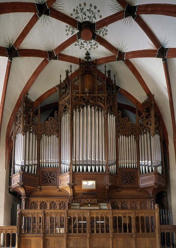 The organ in the back balcony at St. Thomas Church in Leipzig, Germany.  Heard an organ concert my first night in Leipzig.  Made my chest vibrate.