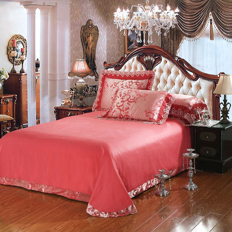 Brick Red Jacquard Cotton Blend Fabric Bedding Sets Bed