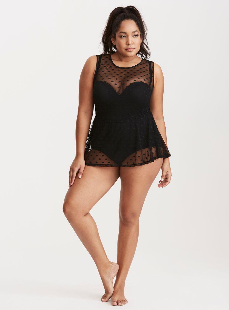 Plus Size Swimwear - Polka Dot Mesh One Piece Swimsuit (plus size) #plussize #swimwear #fatkini #swimsuit