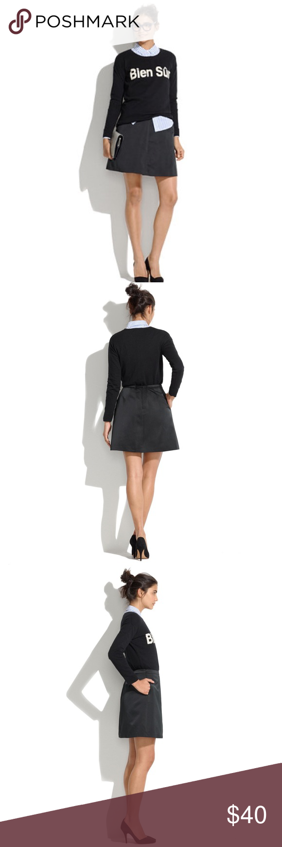 """NWOT Madewell Cocktail Skirt NWOT from Madewell. """"A sculptural silhouette plus a not-too-shiny satin make this a party season go-to. We like it with a half-tucked slub tee. •Full mini. •17 1/2"""" long. •Poly. •Dry clean. •Note that this style does not have pockets as shown. •Import."""" Madewell Skirts Mini"""