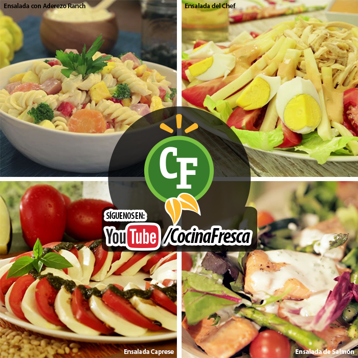 4 ensaladas para comenzar la semana.   Comienza esta semana con una alimentación saludable, te compartimos 4 deliciosas recetas de ensaladas ideales para hoy.