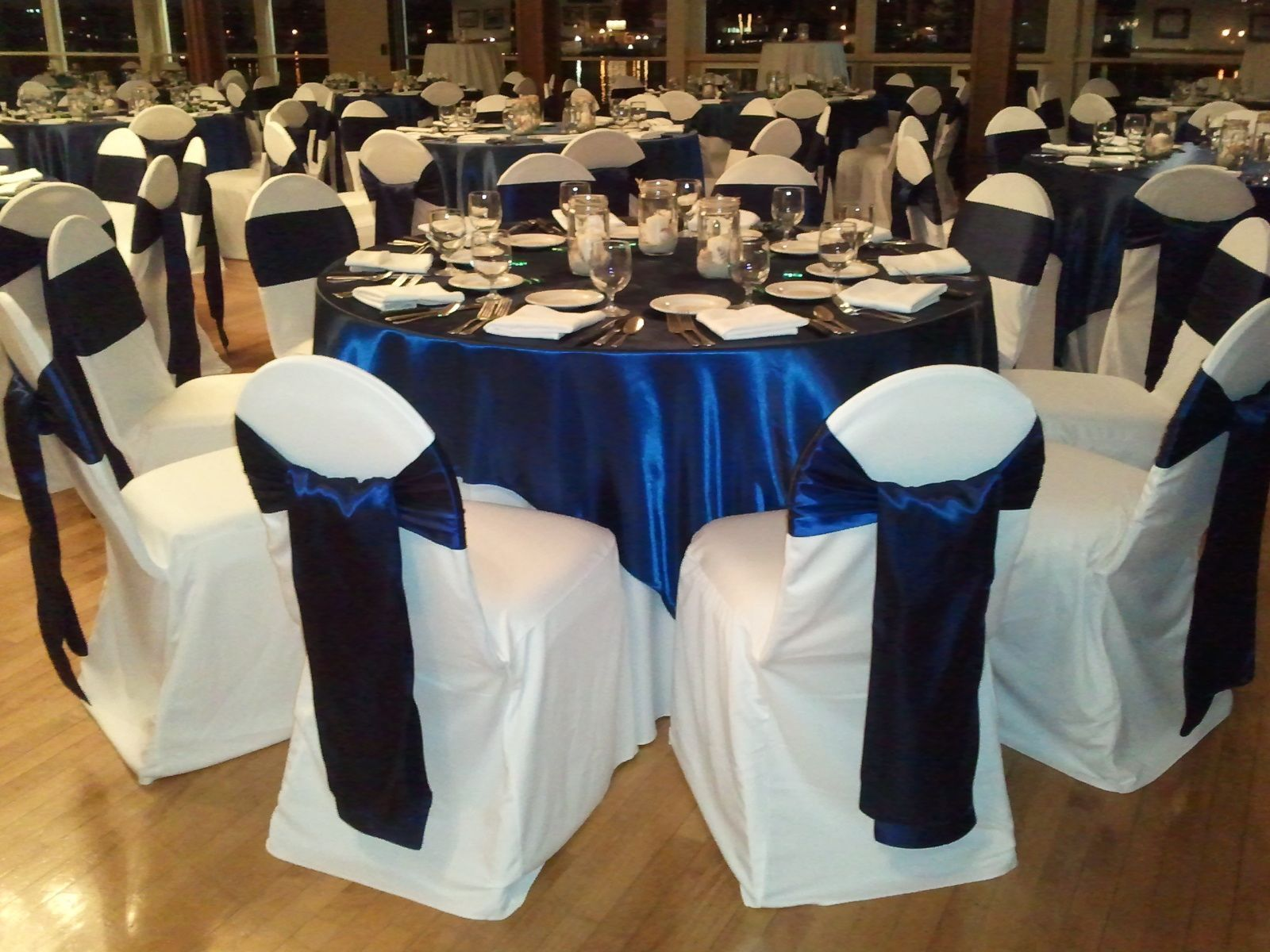 Navy Satin Sash White Chair Covers Chair Covers Wedding Chair