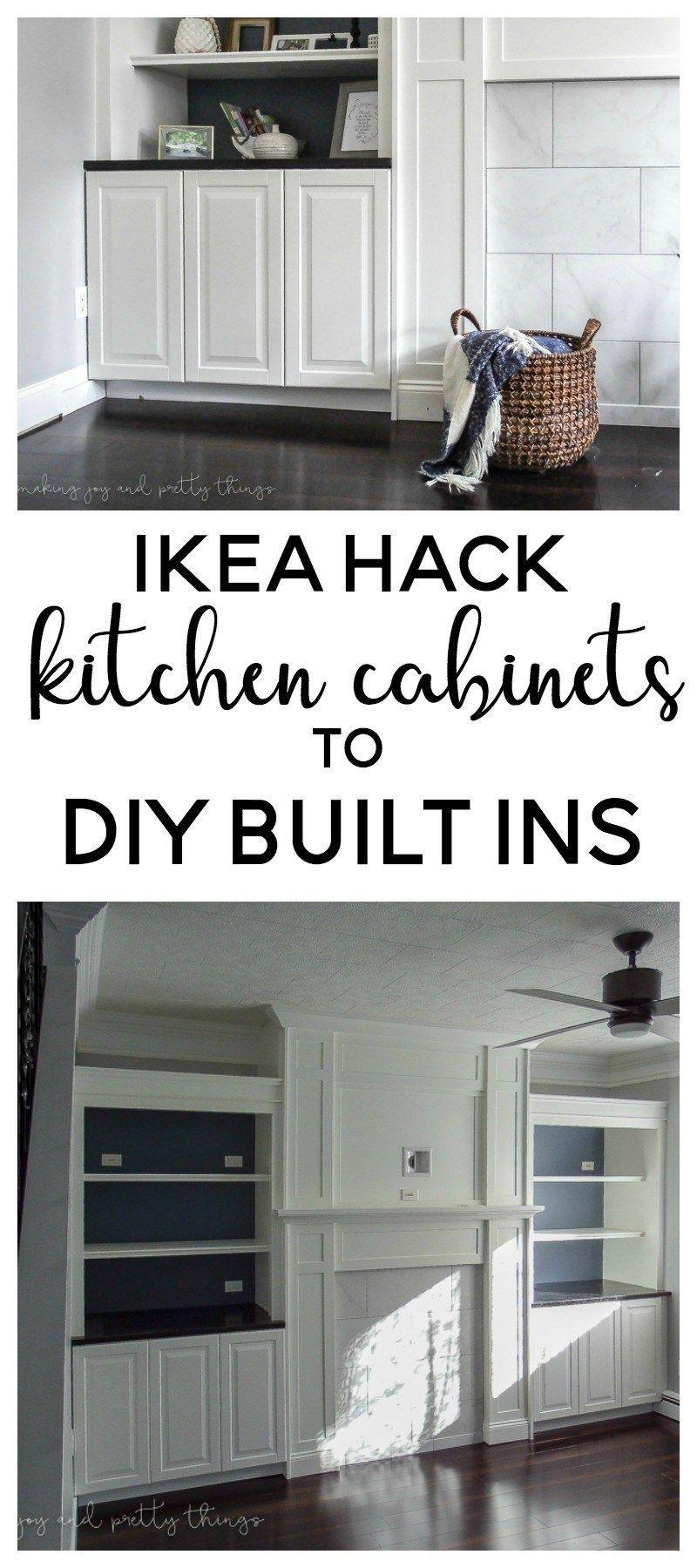 Ikea Hack Kitchen Cabinets Turned Built Ins Ikea Hack Living Room Ikea Hack Kitchen Living Room Built Ins