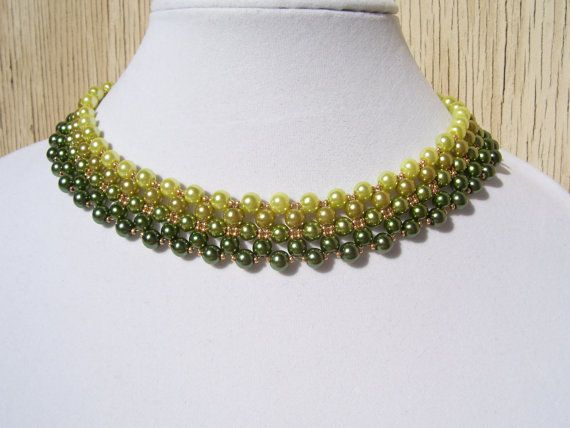 Chartreuse to Olive Ombre Pearl Beadwork by BellaLucaDesigns
