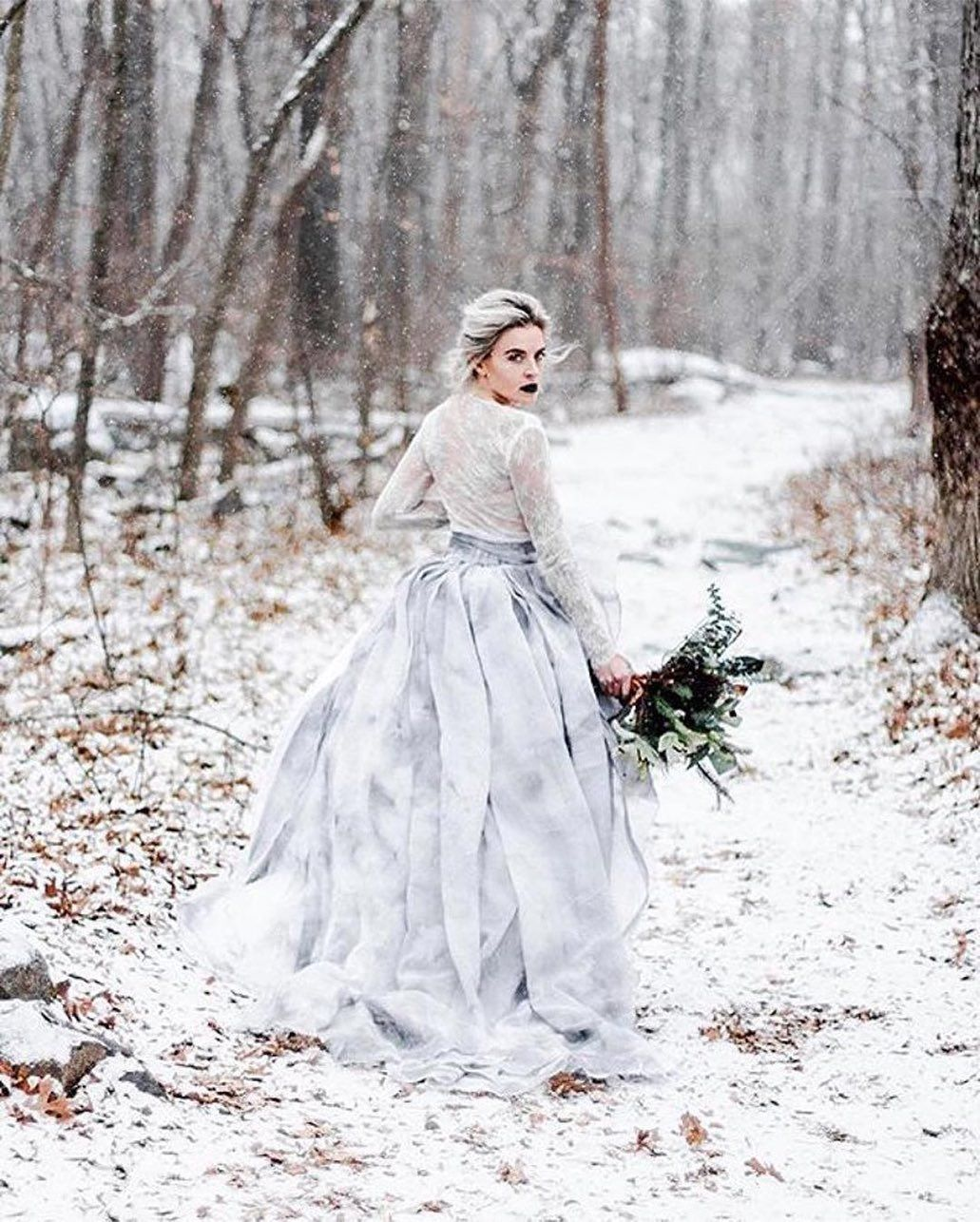 Sweet Caroline Winter Bride Mountain Wedding Edgy Wedding Dress Edgy Wedding Dress Blush Wedding Gown Edgy Wedding
