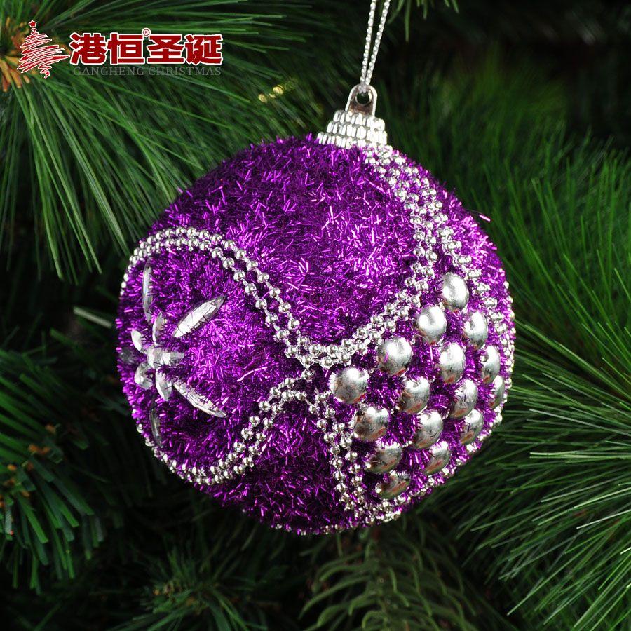 Purple Balls For Decoration Christmas Tree Decoration Pendant 8Cm Purple Quality Luxury Foam