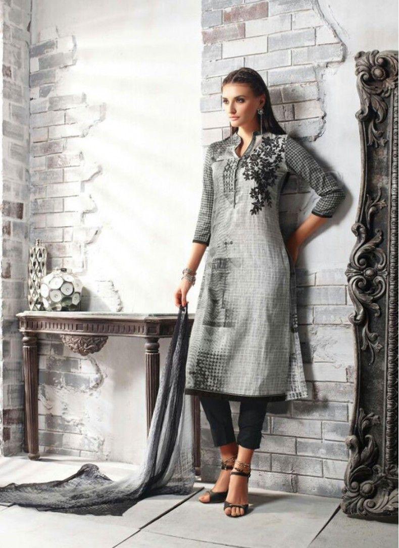 Black and Grey Cotton Satin Abstract Print Churidar Suit