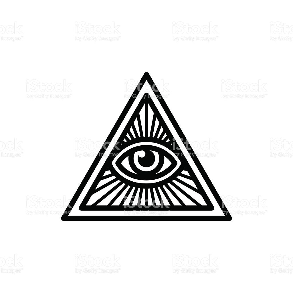 Masonic Symbol All Seeing Eye Inside Triangle With Beams