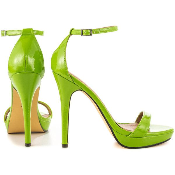 Michael Antonio Women's Lovina PTN - Lime Pat PU (131.295 COP) ❤ liked on Polyvore featuring shoes, sandals, heels, platform heel sandals, michael antonio sandals, ankle strap high heel sandals, platform shoes and lime green sandals